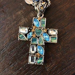 Blue stone cross necklace